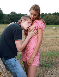 The soft bale of hay turns into the perfect location of these teen lovers. They can lean up against, lay on top of it and more as they have wild, out of control sex.