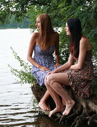 On the edge of the lake, this young stud has an experience that he`ll never forget. Both of these barely legal babes are horny and both need his cock right then and there.